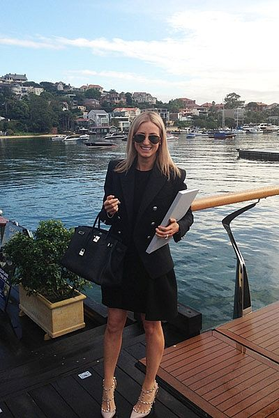 """Meeting with Princess Boats at Rose Bay Marina, wearing Miu Miu dress, Balmain jacket, Ray Ban sunglasses, Valentino shoes, Hermes Birkin bag and Rolex Daytona watch."""