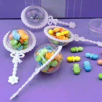 48 Fillable plastic baby rattles shower favor