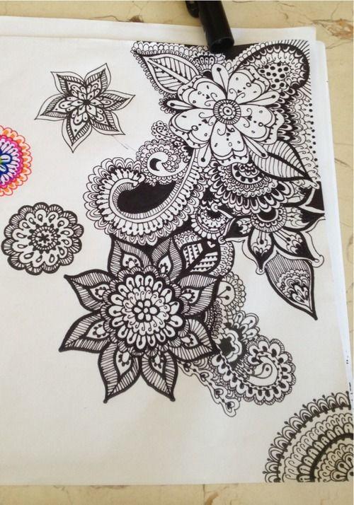 Flower zentangle doodles