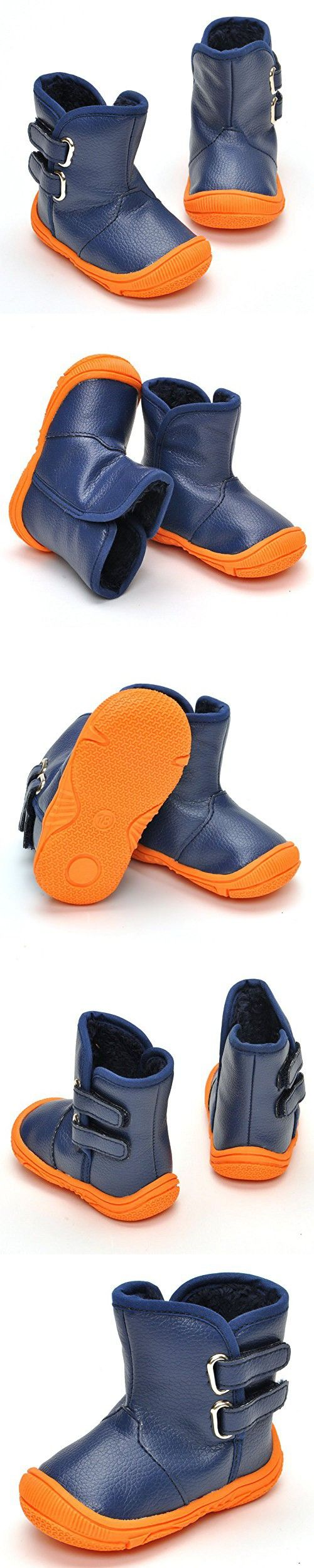 Enteer Infant Baby Boys' Soft Rubber Sole Anti-Slip Warm Winter Prewalker Leather Toddler Boots (19-24months, blue)
