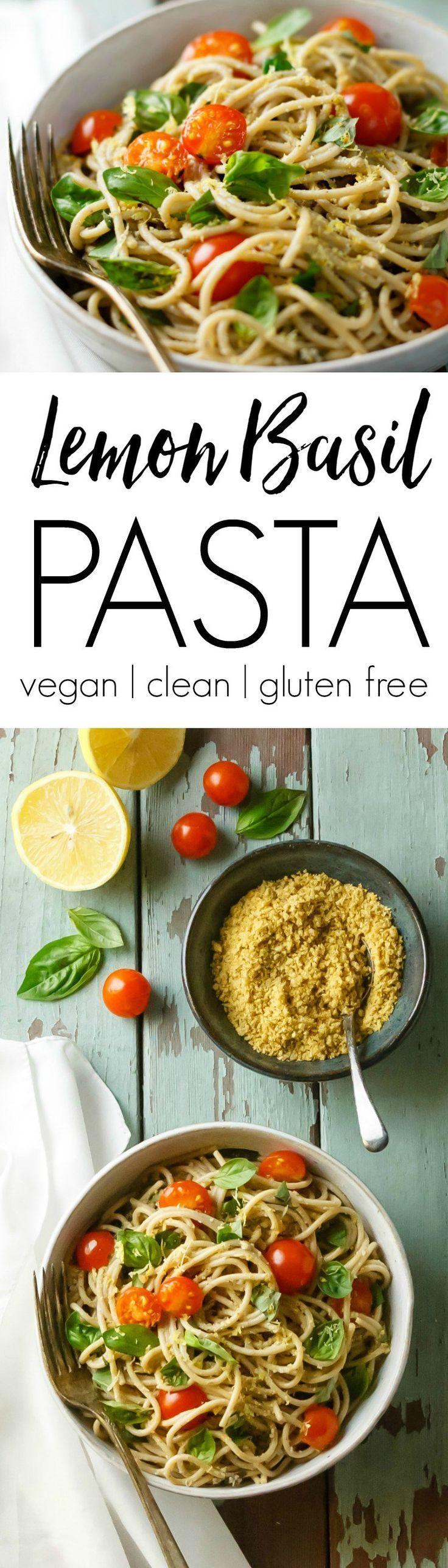 Lemon Basil Pasta with Walnut Parmesan is quick, easy, healthy, delicious! Perfect spring/summer meal. | lemon basil pasta recipes | vegan | meatless | vegetarian | vegan | healthy | gluten free | summer | easy |
