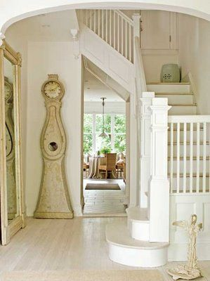pretty: Stairs, Hallways, Floors Mirror, Traditional Home, Swedish Style, Cottages, Homes, Stairways, Grandfather Clocks