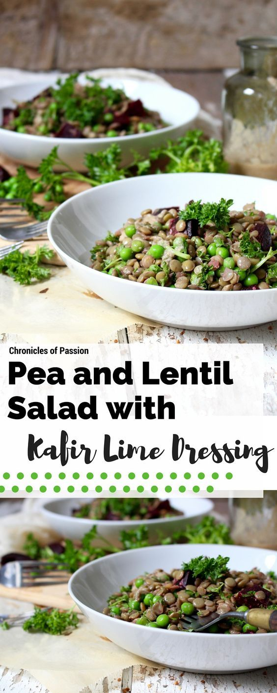Healthy pea and lentil salad that is packed with protein and fiber and celebrates the early flavours of summer with a rhubarb kafir lime dressing!