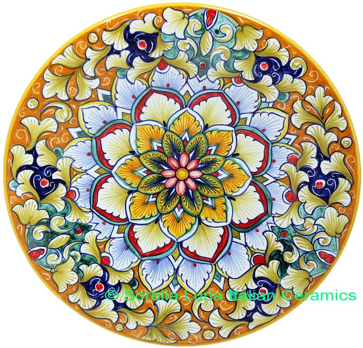 Ceramic Majolica Plate FDL Pink Blue Orange
