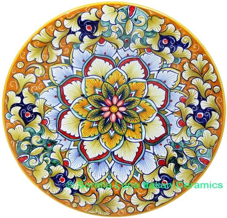 Ceramic Majolica Plate FDL Pink Blue Orange