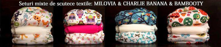 Seturi mixte de scutece textile: Milovia, Bambooty si Charlie Banana.