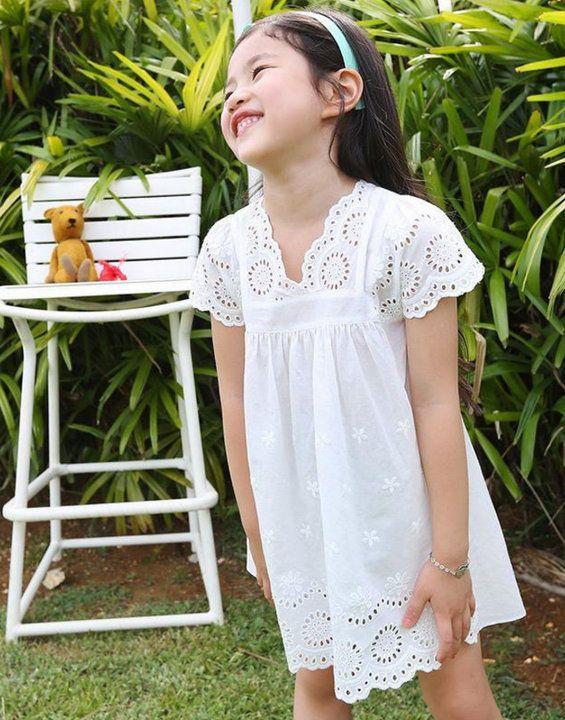 Girls White Lace Flutter Sleeve V Neck Tunic Dress 3t 4t 5