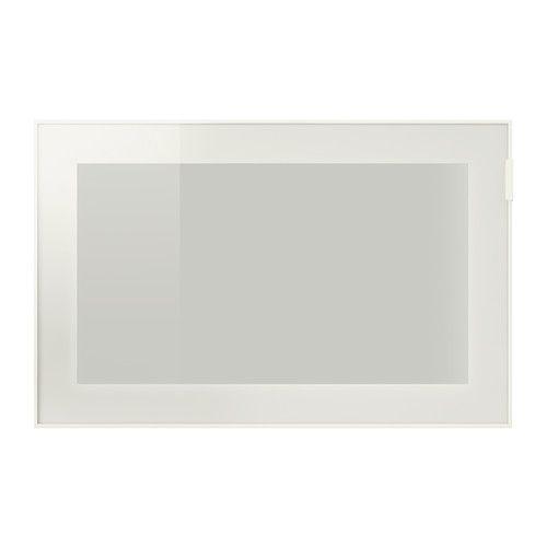 IKEA - BESTÅ GLASSVIK, Vitrinedeur, wit/frosted glas, , Vitrinedeuren voor het stofvrij maar zichtbaar opbergen van je mooie bezittingen.De afstandsbediening kan door het glas heen worden gebruikt, zodat je de elektronische apparatuur ook kan bedienen als de deur dicht is.Met de verstelbare scharnieren kan je de deuren in de hoogte en naar opzij aanpassen. Je kan er ook voor kiezen om de deur als schuifdeur te monteren zodat je meer ruimte rond het meubel hebt als de deur open is.
