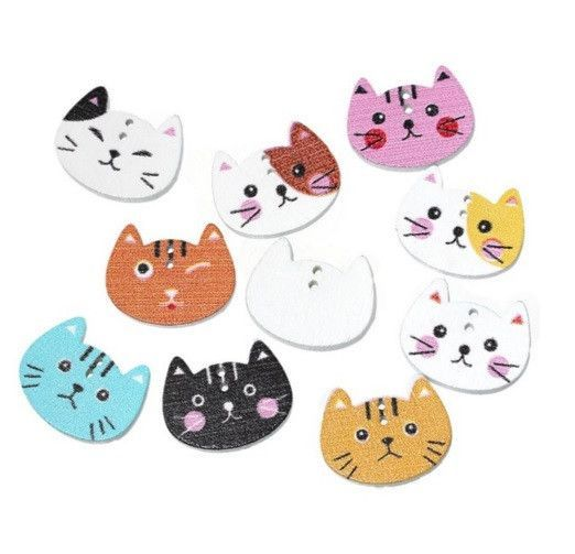 """Merske MK10068 Wood Sewing Scrapbooking Button Cat Two Holes 20.0Mm( 6/8"""")X 16.0Mm( 5/8""""), 10 Pieces"""