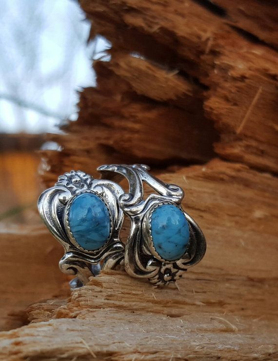 Turquoise and Silver Filigree ring by BlingThingsJewlery on Etsy