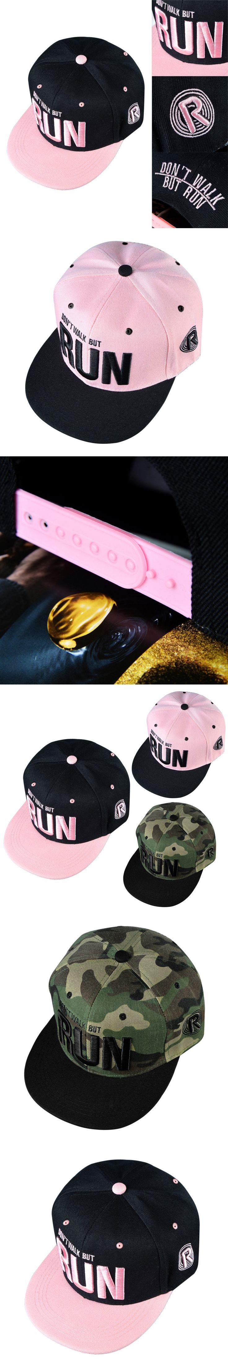Camo Run Letter Snapback Baseball Cap Camouflage Hip Hop Hat For Men Women Outdoor Sports Street Dance Fashion Aba Reta Pink