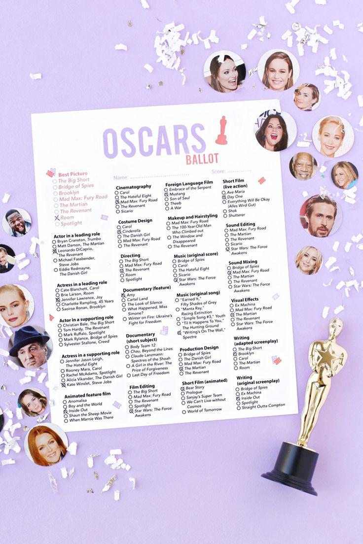Free printable 2016 oscar ballot free printable - Academy awards 2017 download ...