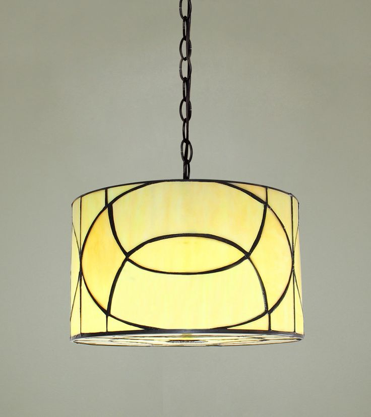 tiffany pendant light drum shade stained glass 31cm
