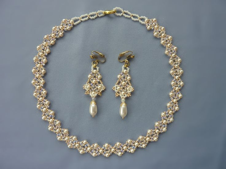 FREE beading pattern for Twin Diamonds necklace and earrings
