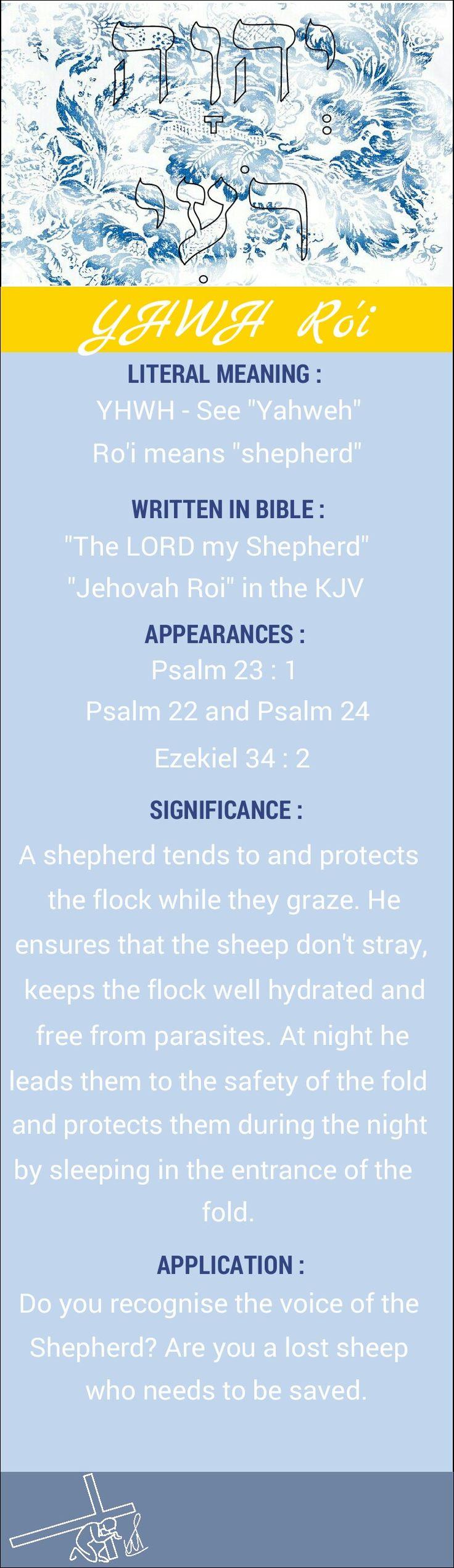 Names of God YHWH Ro'i Yahweh Ro'i Jehovah Roi The LORD my Shepherd