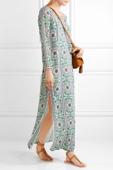 Tory Burch - Garden Party Beaded Printed Silk-chiffon Maxi Dress - Green -