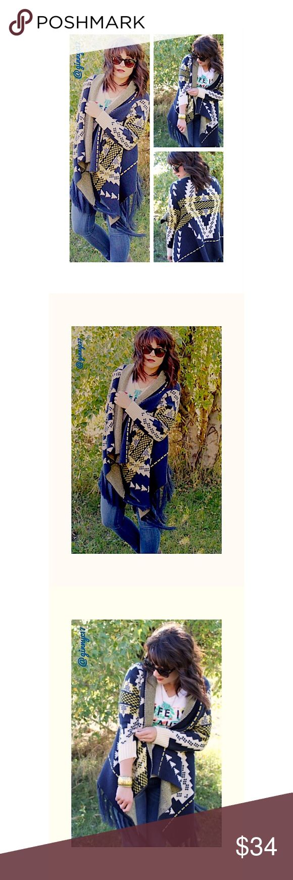 Fringed Tribal Print Cardigan Sweater Cardigan Boutique Label Fringed Tribal Print Cardigan with High/Low Hem. Get ready for Fall in this Unique Boutique Label Cozy Sweater Cardigan. Listing is for size SM/MED - Fits SIZES 2-8 *See Attached Size Chart* ❤️15% BUNDLE DISCOUNT❤️ 🛍CREATE A BUNDLE OF YOUR LIKES AND I WILL SEND YOU A PRIVATE OFFER🛍 Boutique Sweaters Cardigans
