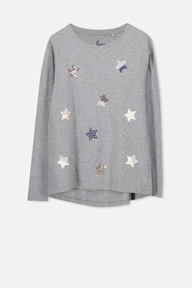 Charlie Long Sleeve Tee, MID GREY MARLE/SEQUIN STARS