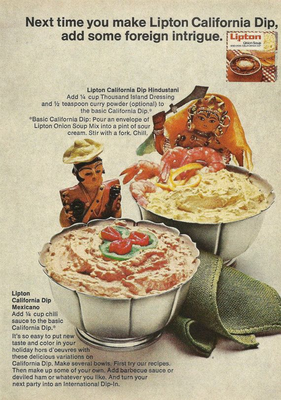 Lipton Onion Soup Mix Original 1965 Vintage Print Ad Color Photo Recipes Campfire Bean Dinner Chicken and Olive Salad Topping