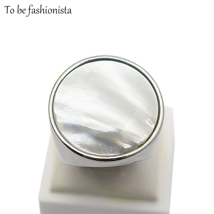 Vintage eenvoudige grote ronde Witte Parel Opaal Steen Ringen rvs zilveren sieraden Delicate bruiloft verlovingsringen voor vrouwen