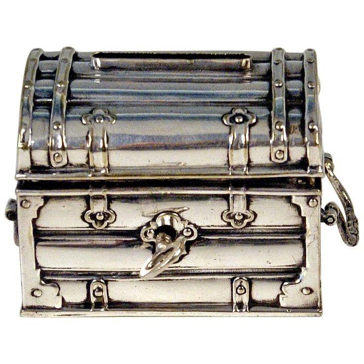 Austrian Silver Money Box Piggy Bank Treasure Chest, circa 1880-1885.
