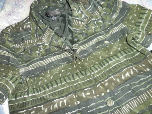 nwt Spenser Jeremy olive green 100% silk button shirt ladies 6 $119