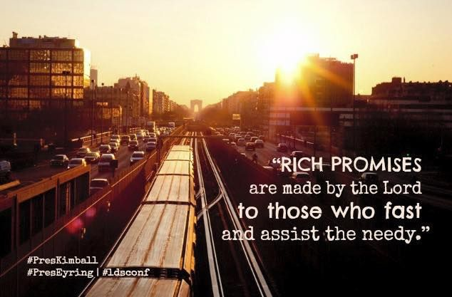 """Rich promises are made by the Lord to those who fast and assist the needy. … Inspiration and spiritual guidance will come with righteousness and closeness to our Heavenly Father. To omit to do this righteous act of fasting would deprive us of these blessings."" http://youtu.be/QqL2KPE8M4c From #PresEyring's http://pinterest.com/pin/24066179228827489 inspiring #LDSconf http://facebook.com/223271487682878 message http://lds.org/general-conference/2015/04/is-not-this-the-fast-that-i-have-chosen"