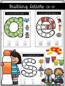 Build or decorate a letter a-z set. Students can use counters, bears, manipulatives, etc. Bingo dab a letter. Q Tip paint a letters Easy low prep Literacy Center/ Station to use year round, just switch out the manipulatives. This is an English set.