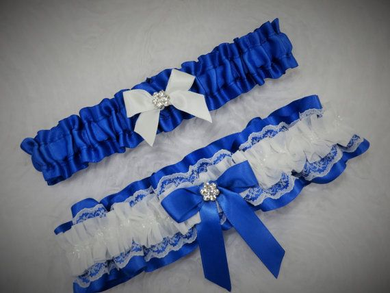 Royal Blue Garter Set Something White Lace Keepsake Toss For Prom