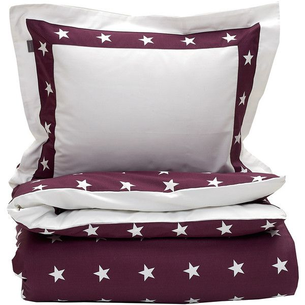 Gant Star Border Duvet Cover - Purple Fig - Double (£135) ❤ liked on Polyvore featuring home, bed & bath, bedding, duvet covers, purple, egyptian cotton bedding, gant, purple bed linen, star bedding and patterned bedding