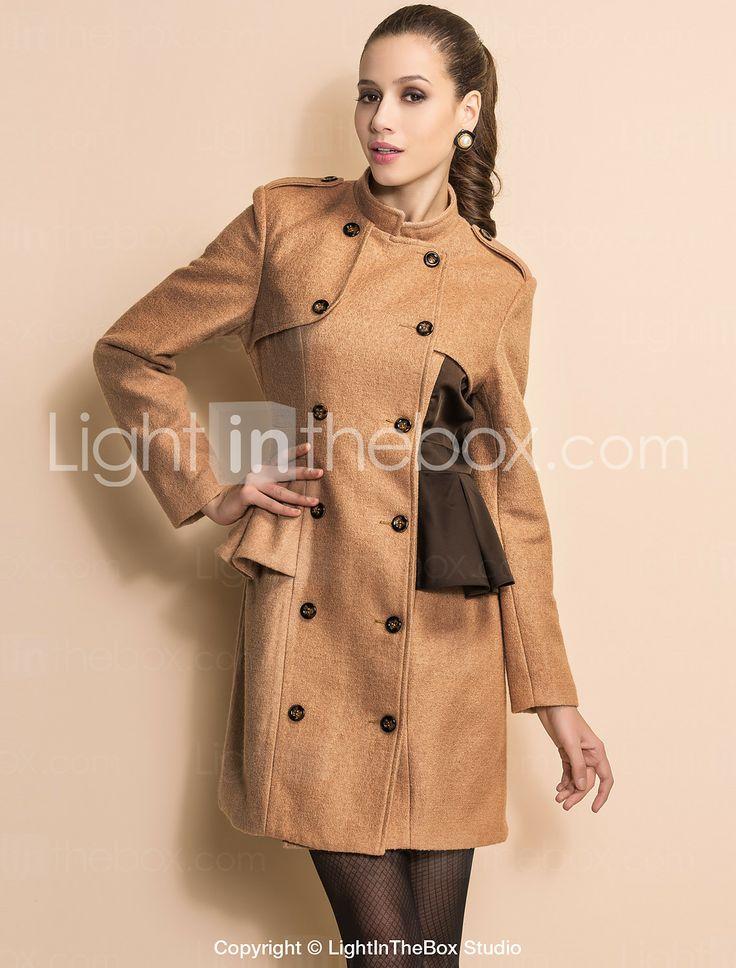 ts dubbele borst contrasterende kleur opstaande kraag tweed jas