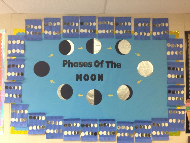 Lunar cycle phases of the moon. Third grade science for open house