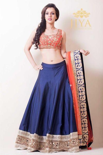 navy blue raw silk lehenga , plain lehenga skirt, friend of the bride, blue and orange, sangeet outfit, mehendi lehenga, colorblocked, simple, elegant, sleeveless blouse