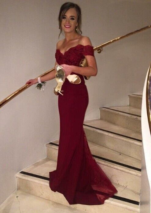 2016 New Fashion Satin ushers Dark Red Mermaid Long Cap Sleeve Boat Neck Lace Backless Evening Dresses Bridesmaid Dress