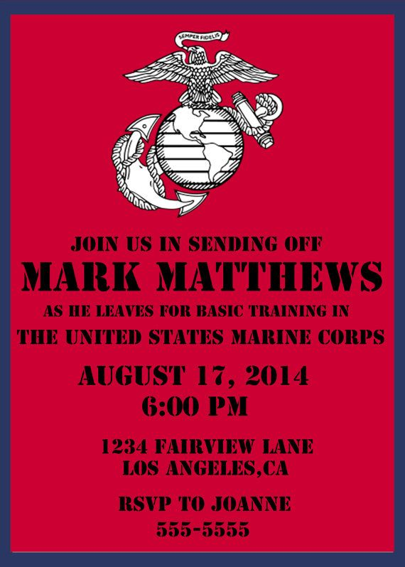 U.S. Marine Corps send off party invite. DIY, budget friendly