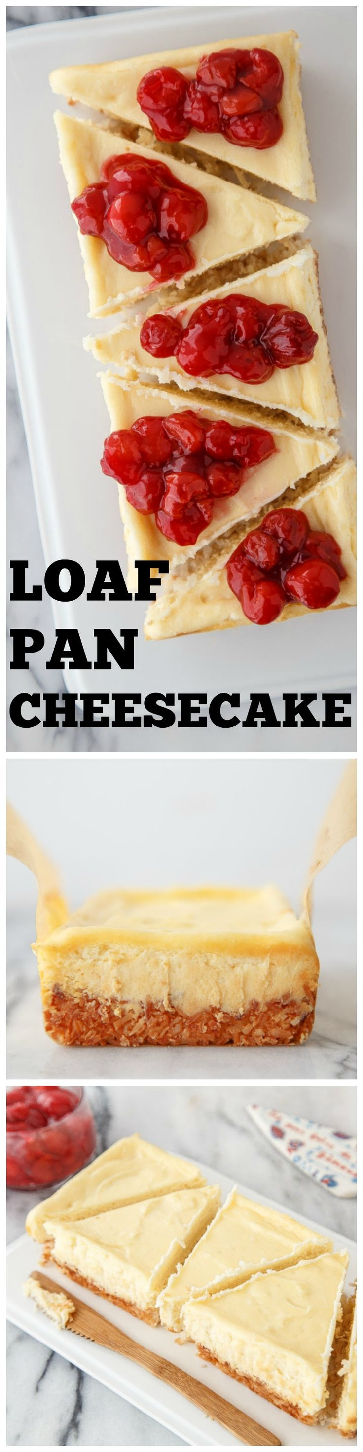 "A small cheesecake with less servings than a big 9"" cheesecake. All the same great flavor, just made in a small bread loaf pan. @dessertfortwo"