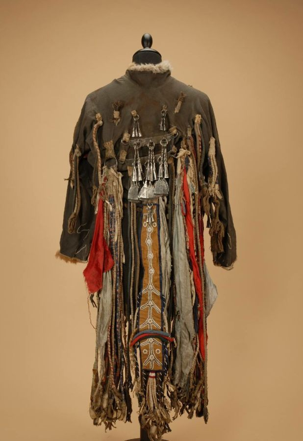 Front and back of a Darkhad shaman's robe from the first half ot he 20th century  Ulan-Uul, Khovsgol province, Mongolia