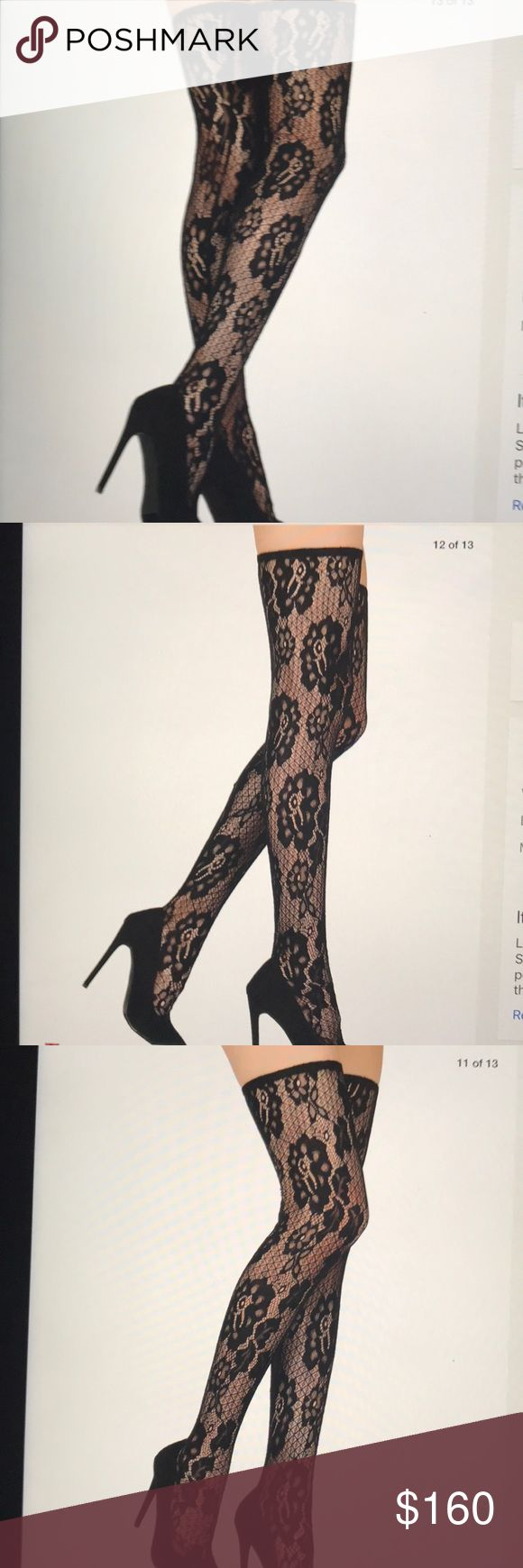 "BLACK LACE THIGH HIGHS SZ 9 NEW NEVER WORN GORGEOUS LACE THIGH HIGH BOOT/SHOE SZ 9 Get the look of the over $1,000 for a 1/4 or less the price!  Never worn heel 4.25"" shaft with heel 27"" opening 13"" closure is slip on, no zipper or lace up and runs a smig narrow. Very VERSATILE!! Stiletto pointy toe with single sole. That covers everything 😀 Liliana Shoes Over the Knee Boots"
