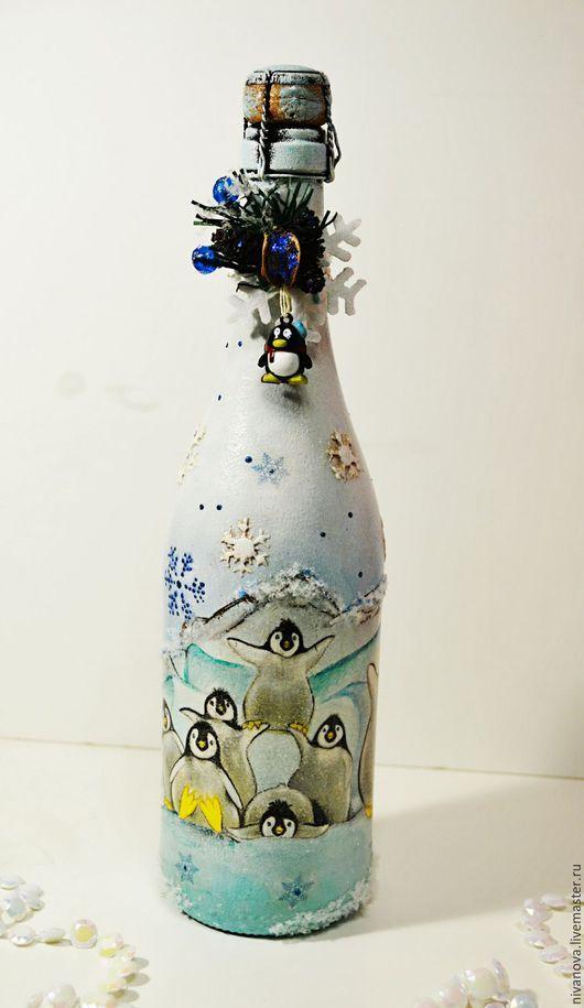 Новогоднее шампанское Пингвинята декупаж