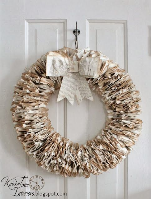 Turn an unwanted old book into a beautiful and unique book page wreath ... for about $4! Tutorial from Knick of Time.