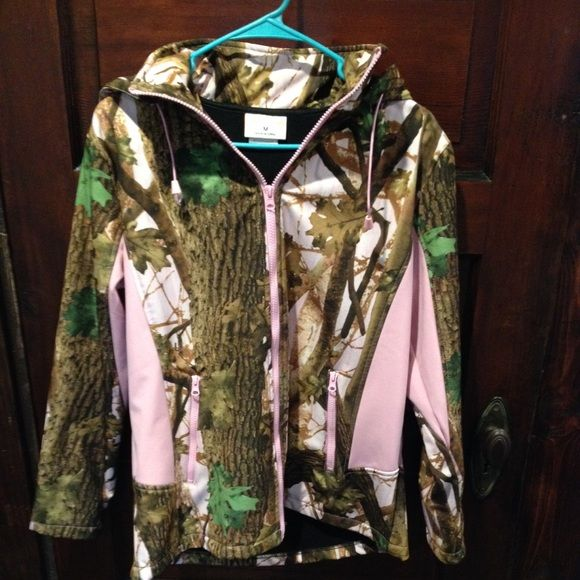 Cute pink camo jacket!! This jacket has only been worn once...still in new condition. It was just too big on me...definitely fits like a med :) fairly thick lining and has a hood. Jackets & Coats Utility Jackets