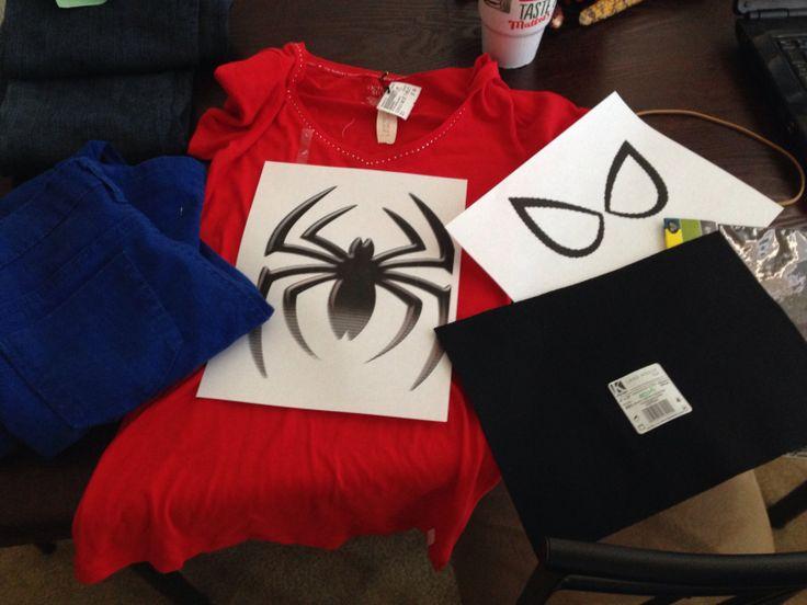 #halloween girls Spiderman costume with sticky black felt, red shirt, spider pattern, blue skinny pants.