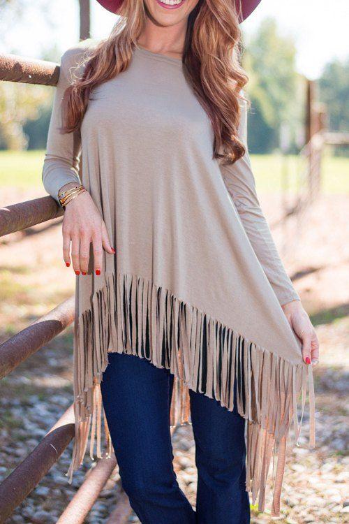 Long Sleeve High Low Fringed Khaki Dress