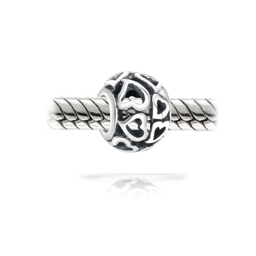 Valentines Day Gifts Bling Jewelry Open Heart Bead Filigree Sterling Silver Fits Pandora Charms