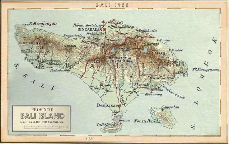 """Bali 1938 edited from the Dutch Map """"Oost Java"""" the colonial """"Peta Tua""""shows only a small corner with Bali and Lombok combined."""