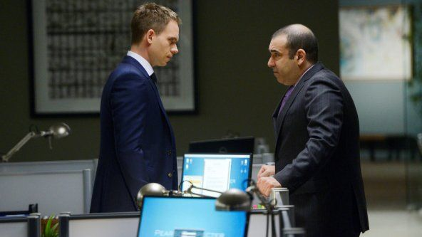 """""""Suits"""" Season 3 videos show the threat to Mike's secret when Professor Gerard (Stephen Macht) arrives in """"Yesterday's Gone."""""""