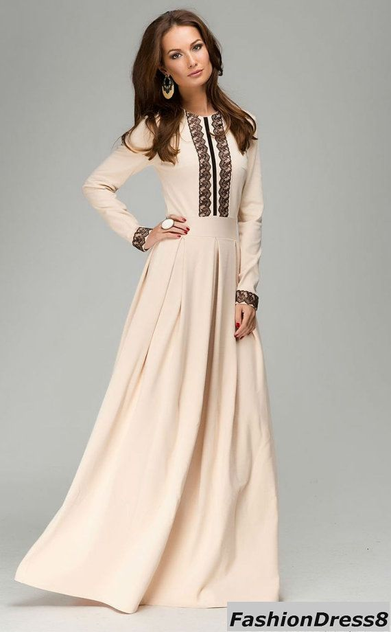 Ivory Maxi Dress.Long Sleeve dress Occasion.Party por FashionDress8