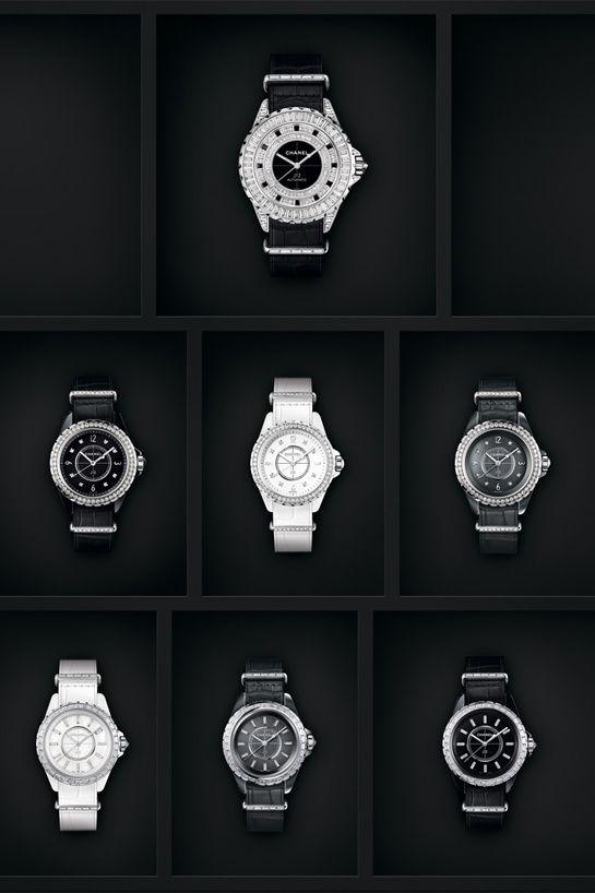 Les montres J12 – G.10 de Chanel Horlogerie http://www.vogue.fr/joaillerie/le-bijou-du-jour/diaporama/la-montre-j12-g-10-de-chanel-horlogerie/21510#!les-montres-j12-g-10-de-chanel-horlogerie