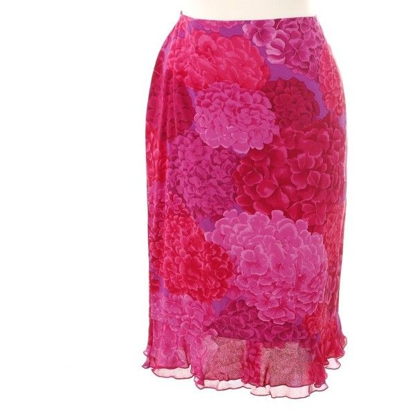 Pre-owned skirt with floral print ($185) ❤ liked on Polyvore featuring skirts, pink, floral maxi skirt, tie-dye maxi skirts, ruffle maxi skirt, floral printed skirt and ruffle skirt