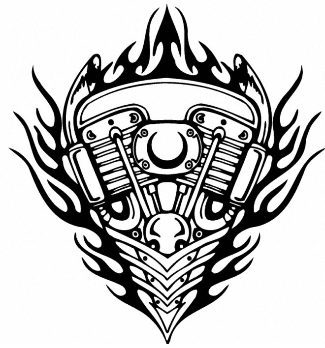 Tribal Flames Bike Piston Tattoo Design